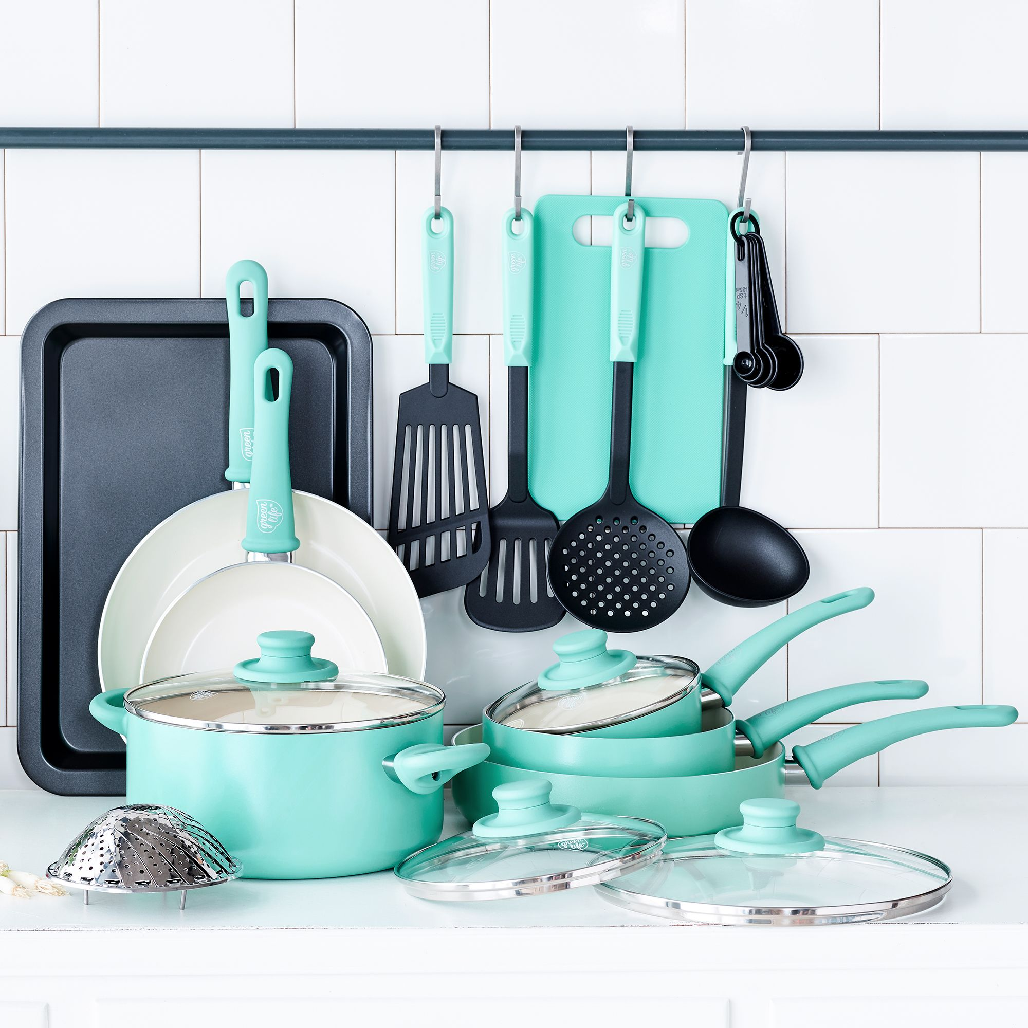 Home House Of Turquoise Ceramic Non Stick Cookware Set