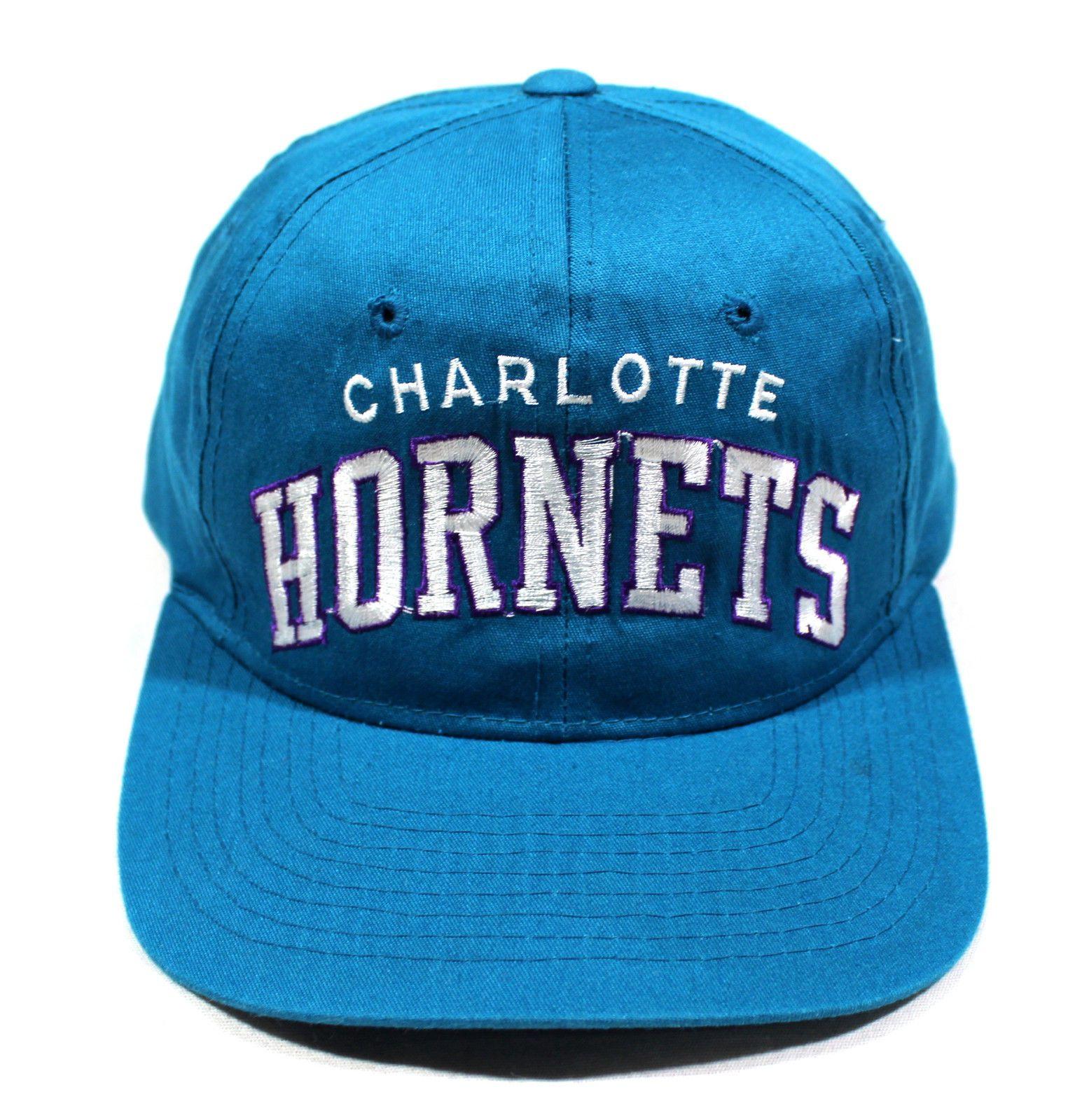 1a0b688b0a229 90s Vtg Charlotte Hornets Starter Arch OG Snapback Hat NBA Cap Mourning  Bogues