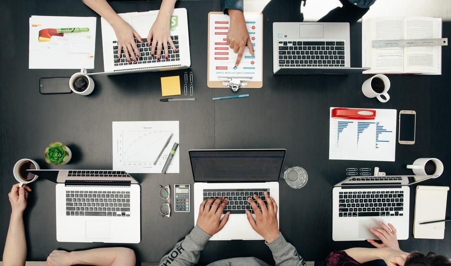Image of Tech Meeting Flatlay  This free stock photo is also