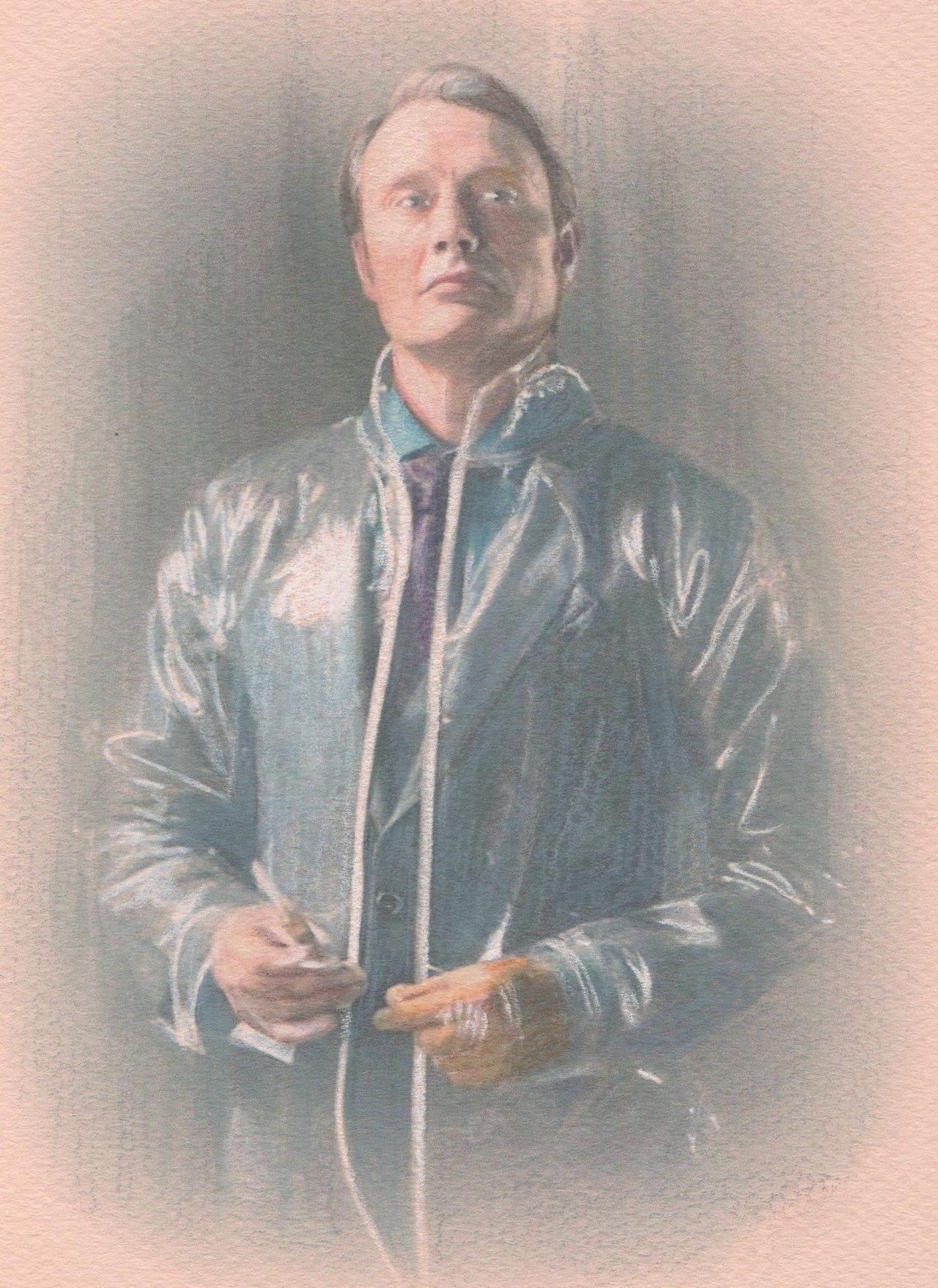 "Hannibal ""Vestido para matar"". Lápices acuarelables sobre papel Canson, 20x25 cm."
