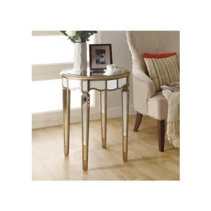 Monarch Specialties Diameter Scalloped Accent Table, 24-Inch, Mirrored