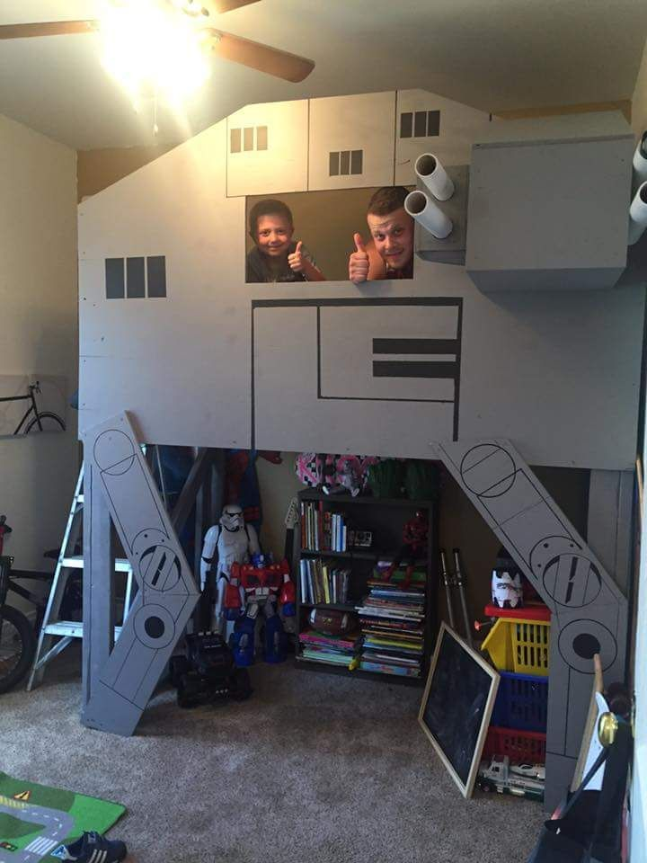 My fiancé made my son an AT-AT Star Wars loft bed! | Children\'s ...