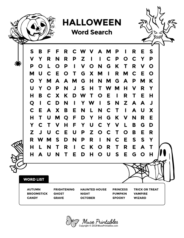 Free printable Halloween word search. Download it at https