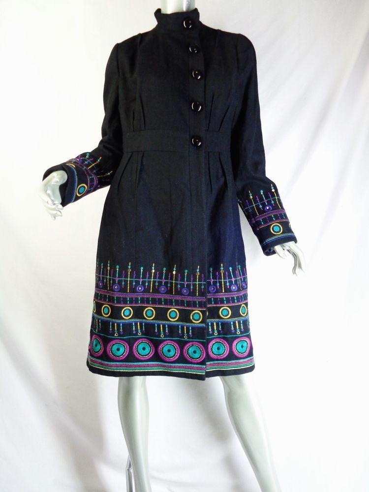 New Plenty Tracy Reese Anthropologie Black Stitched Spindles Coat 10 NWT #PlentyTracyReeseforAnthropologie #BasicCoat