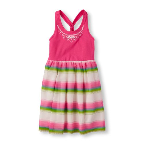 Baby Clothing Stores Near Me Simple Girls Sleeveless Twist Back Striped Skirt Dress  Pink  The Design Ideas