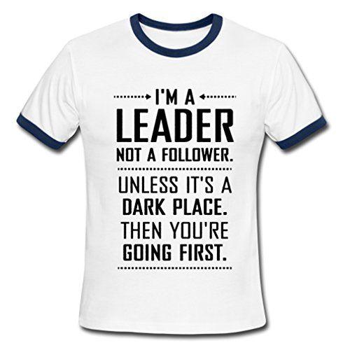 I am A Leader Men's Contrast T-Shirt DarkBlue