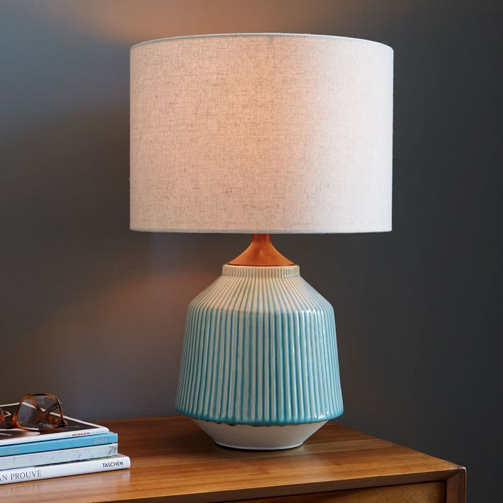Roar + Rabbit Ripple Ceramic Table Lamp   Turquiose