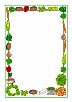 Vegetables themed A4 page borders SB5475 SparkleBox