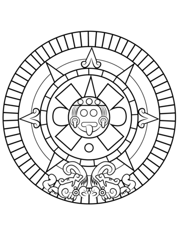 Aztec Sun Stone coloring page from Aztec art category. Select from ...