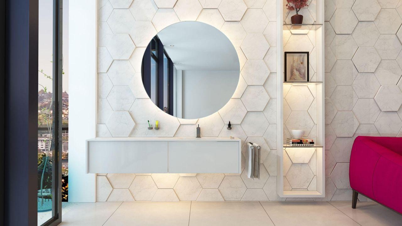 Badspiegel Mit Beleuchtung Komplettiert Unsere Badezimmerplanung Badezimmerspiegel Beleuchtung Badezimmerspiegel Und Badspiegel
