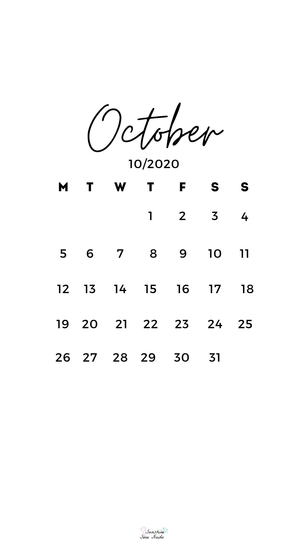 October 2020 Wallpaper In 2020 October Wallpaper October Calendar Calendar Wallpaper
