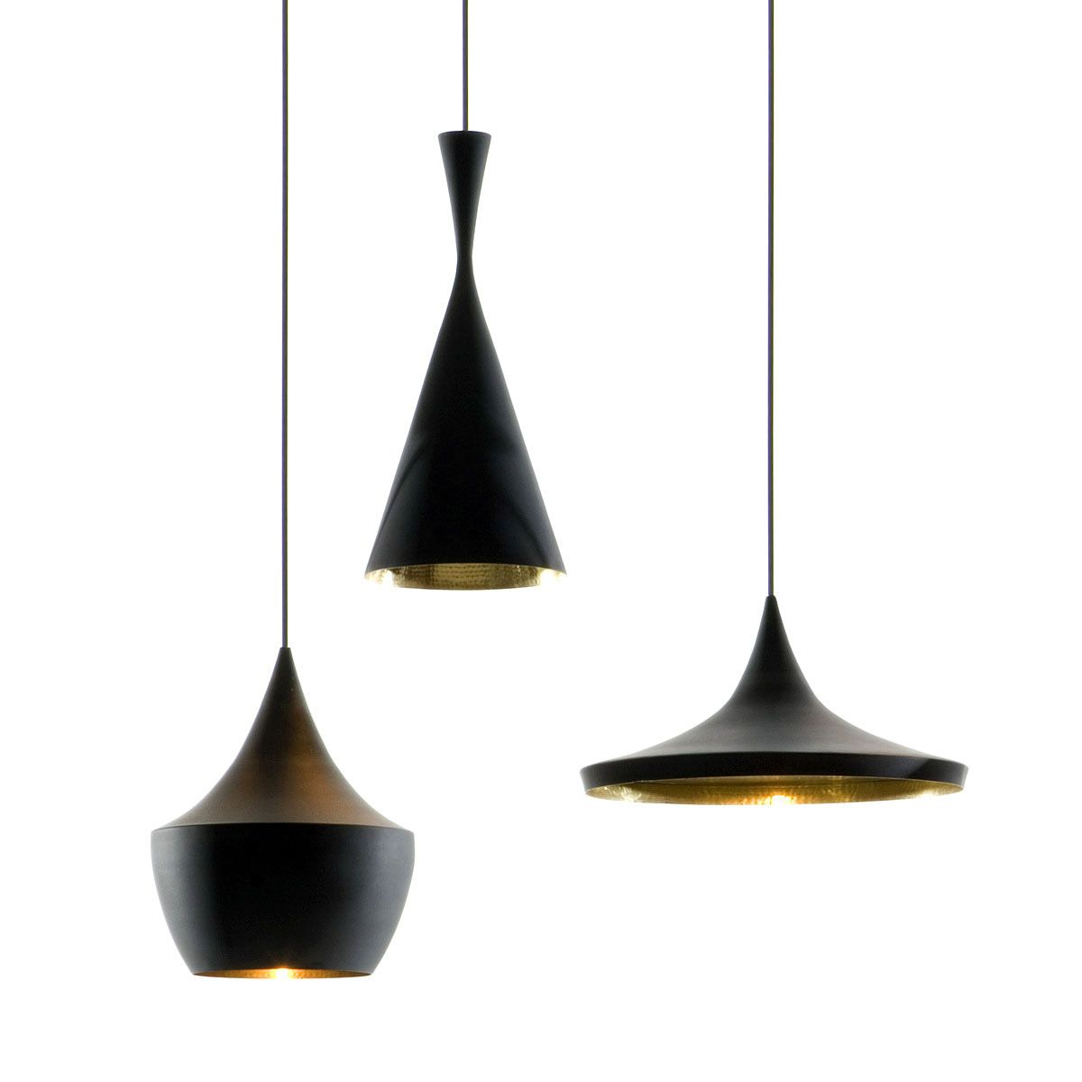 Schwarze Lampe Tom Dixon Beat Light Wide Pendelleuchte Schwarz Future Tom