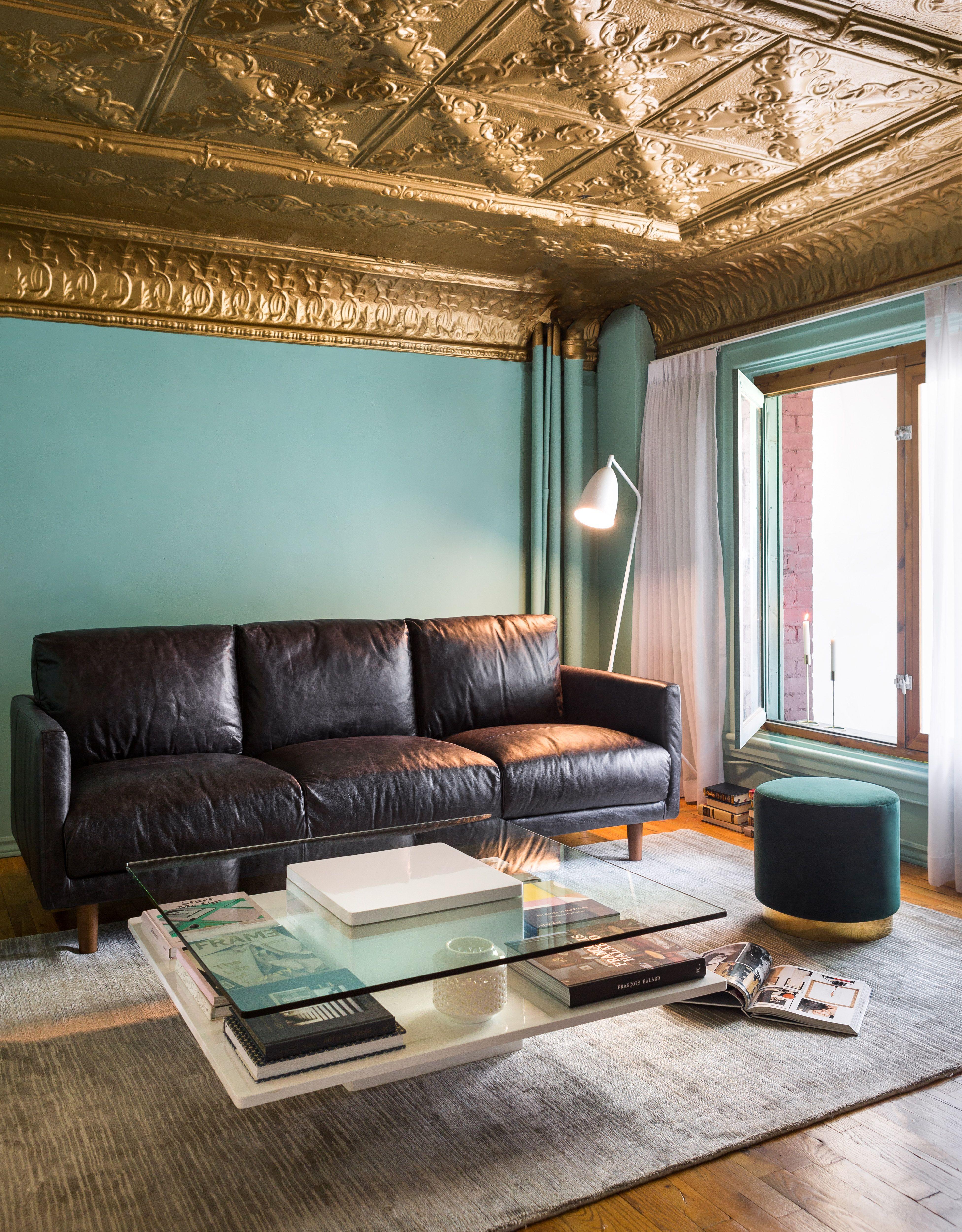 JEFFERSON Leather Seater Sofa Revetement Mur Demeure Et - Canapé 3 places pour deco salle a manger salon
