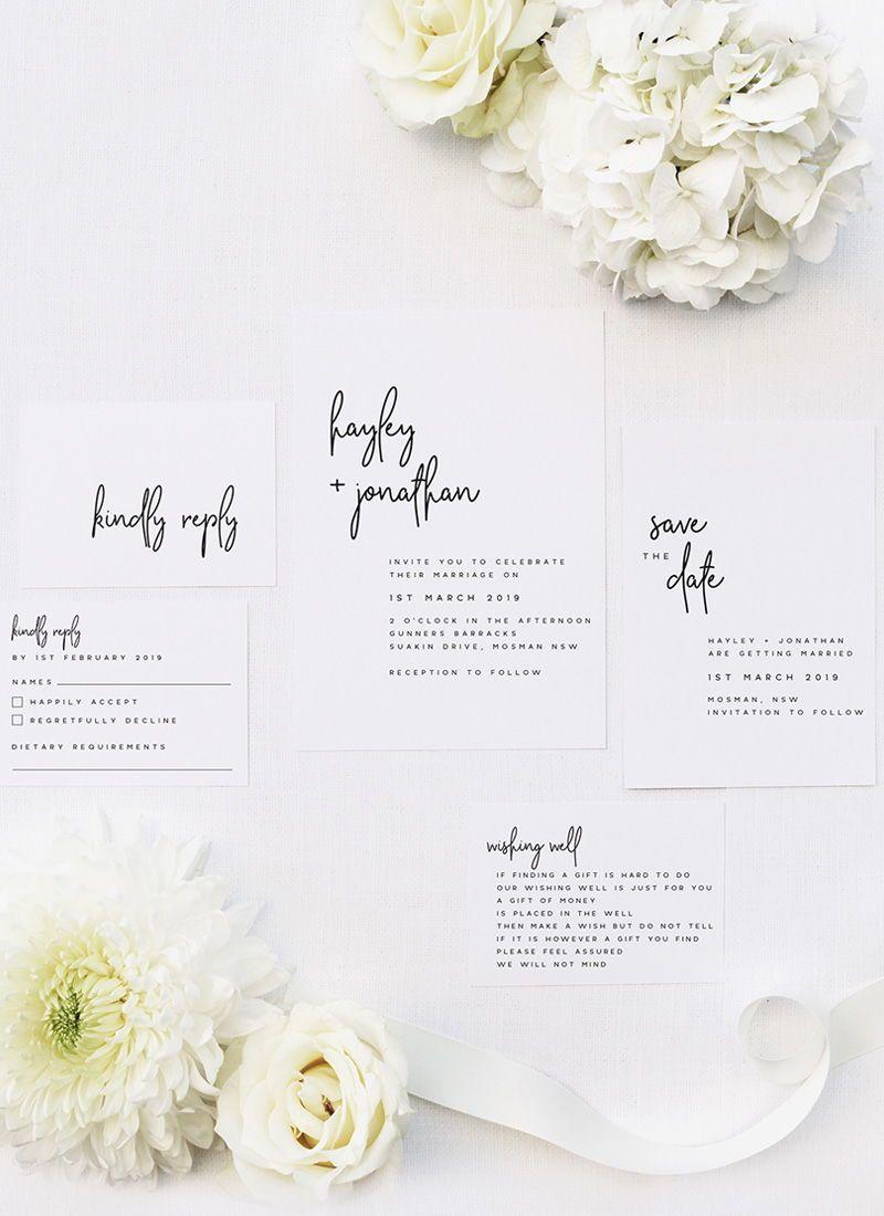 elegant cursive modern minimal wedding invitations