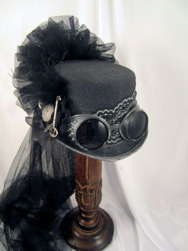 Steampunk Gun Metal Riding Hat with Goggles and Clock Parts with Netting | eBay