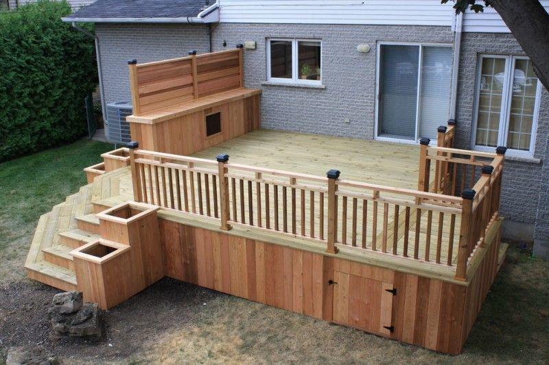 Modern Deck With Cedar White Pine Skirting Cedar Rails Idea Grey
