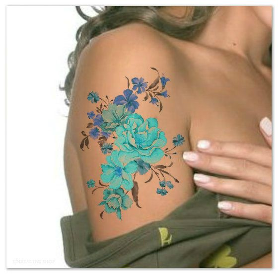 Temporary Tattoo Shoulder Flower Ultra Thin Realistic Fake | Etsy