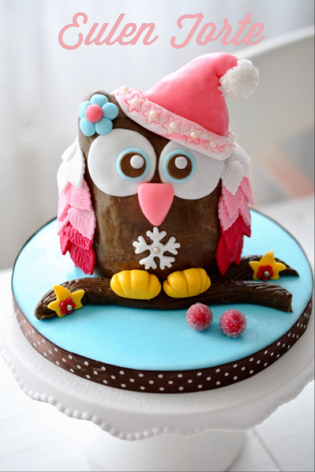 Owl cake - produced step by step and decorate - 3 D Motivtorten