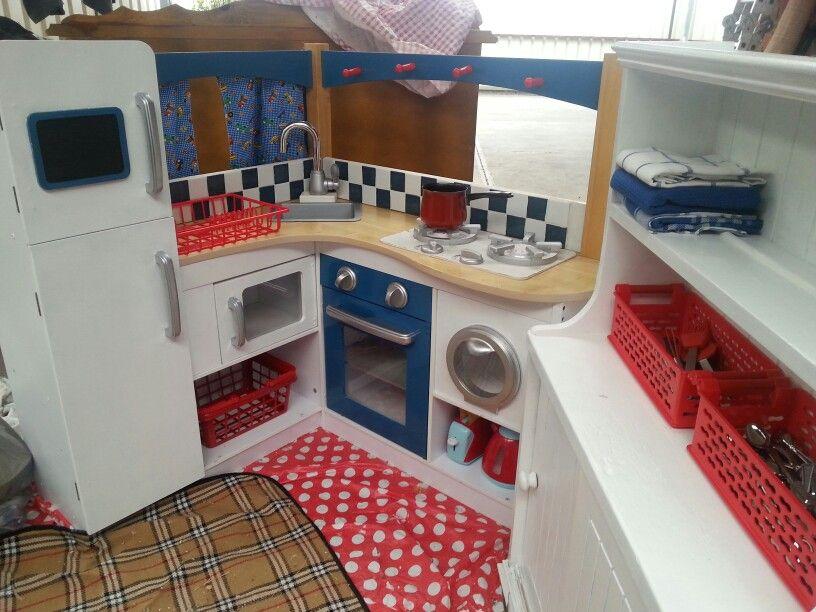Boys Play Kitchen. Kidkraft Kitchen Repainted Red White