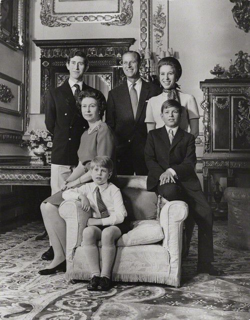 The Royal Family in 1972...Prince Charles, Prince Phillip ...