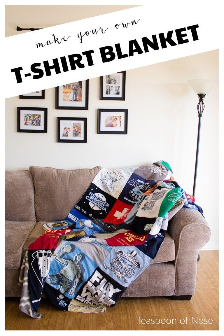 DIY T-Shirt Blanket | Teaspoon of Nose