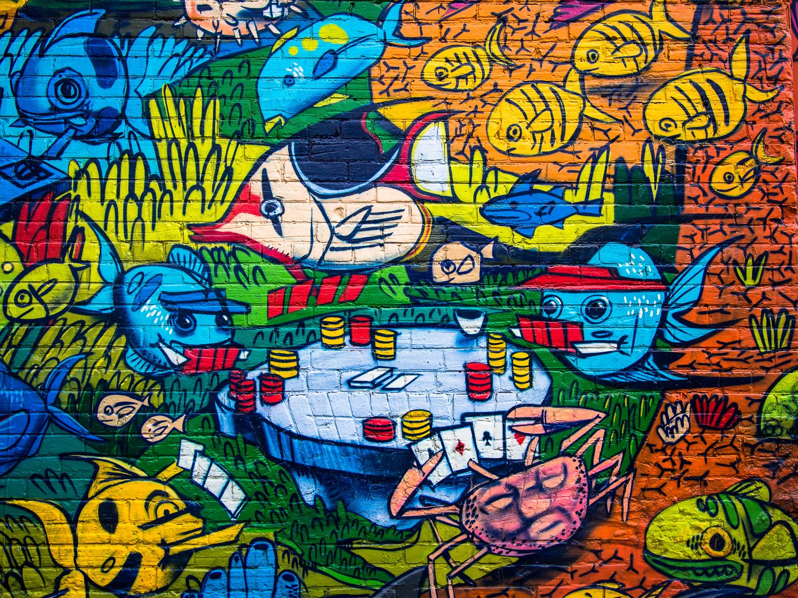 Fish playing poker uber street art painting art