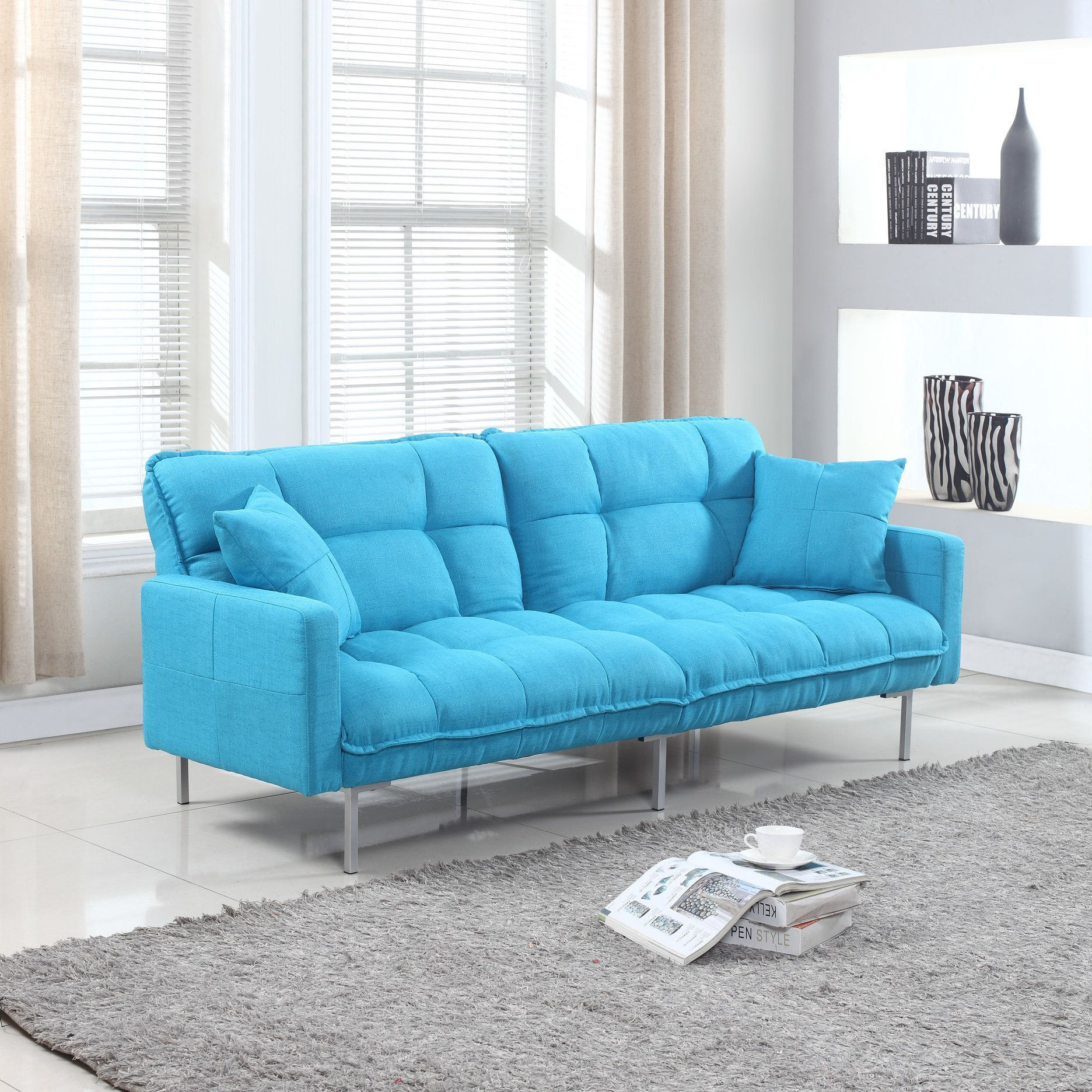 Modern Plush Tufted Linen Fabric Splitback Living Room Sleeper Futon Orange Futon Sofa Sofa Couch Bed Furniture