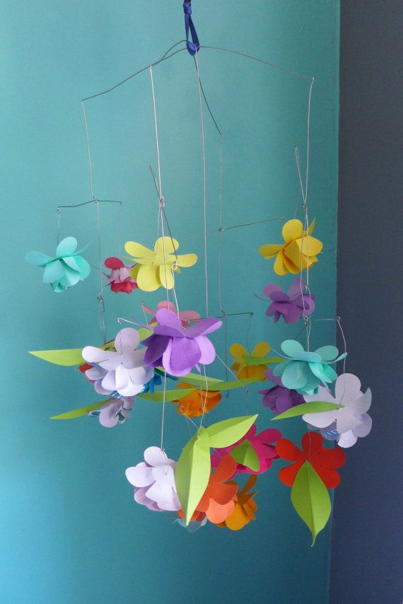 Paper flower mobile, customized design, crib mobile, hand made paper ...