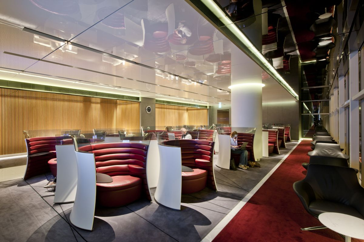 Separated parties with circular seating. Individual seating along ...