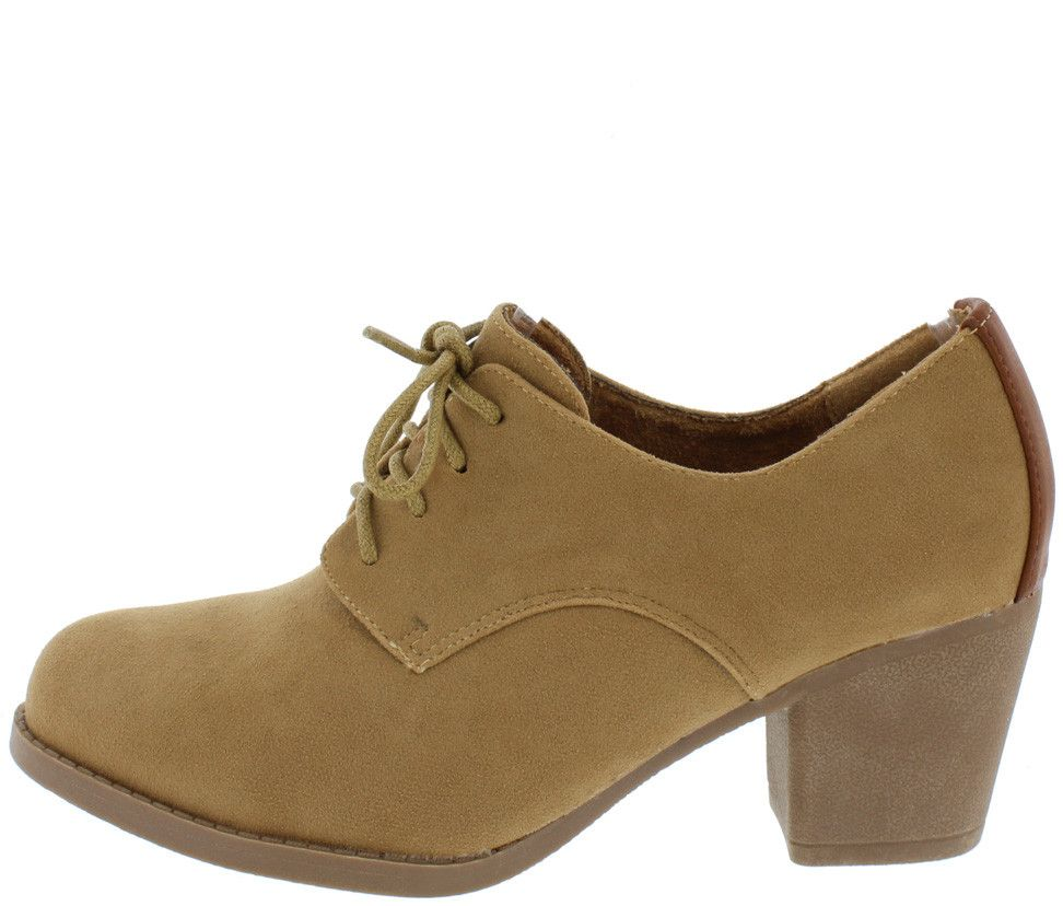 CASIDY18 CAMEL LACE UP OXFORD HEEL BOOT ONLY $13.88