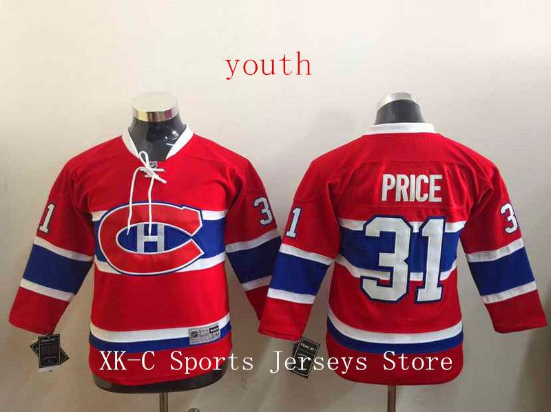 6049b9f3d ... New Montreal Canadiens Youth Hockey Jerseys 31 Carey Price Jersey Kids  Home red Carey Price ...