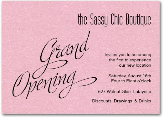 Pink Sparkle Grand Opening Business invitation, Pink paper and - business invitation templates