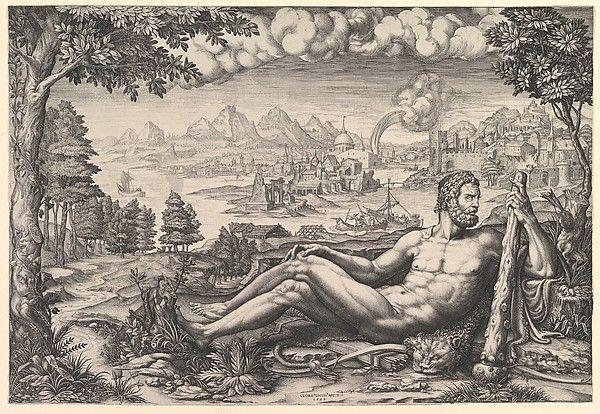 Hercules Resting from His Labors Artist: Engraved by Giorgio Ghisi (Italian, Mantua ca. 1520–1582 Mantua) Artist: After Giulio Romano (Italian, Rome 1499?–1546 Mantua) Date: 1567 Medium: Engraving