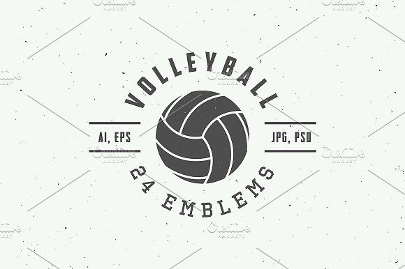 set of vintage volleyball emblems by akimd on creativemarket