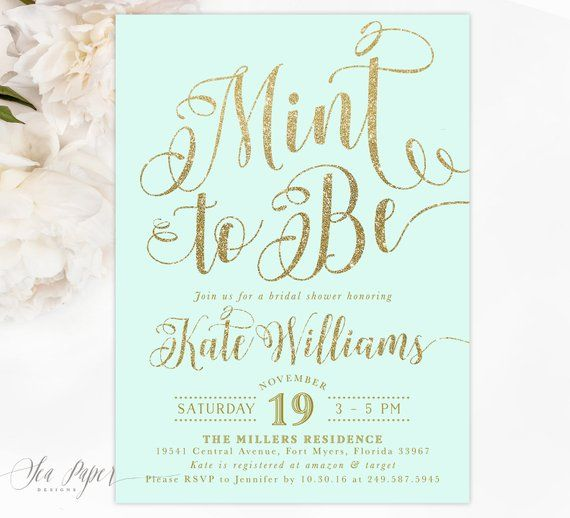 Mint To Be Bridal Shower Invitation, Mint Bridal Shower