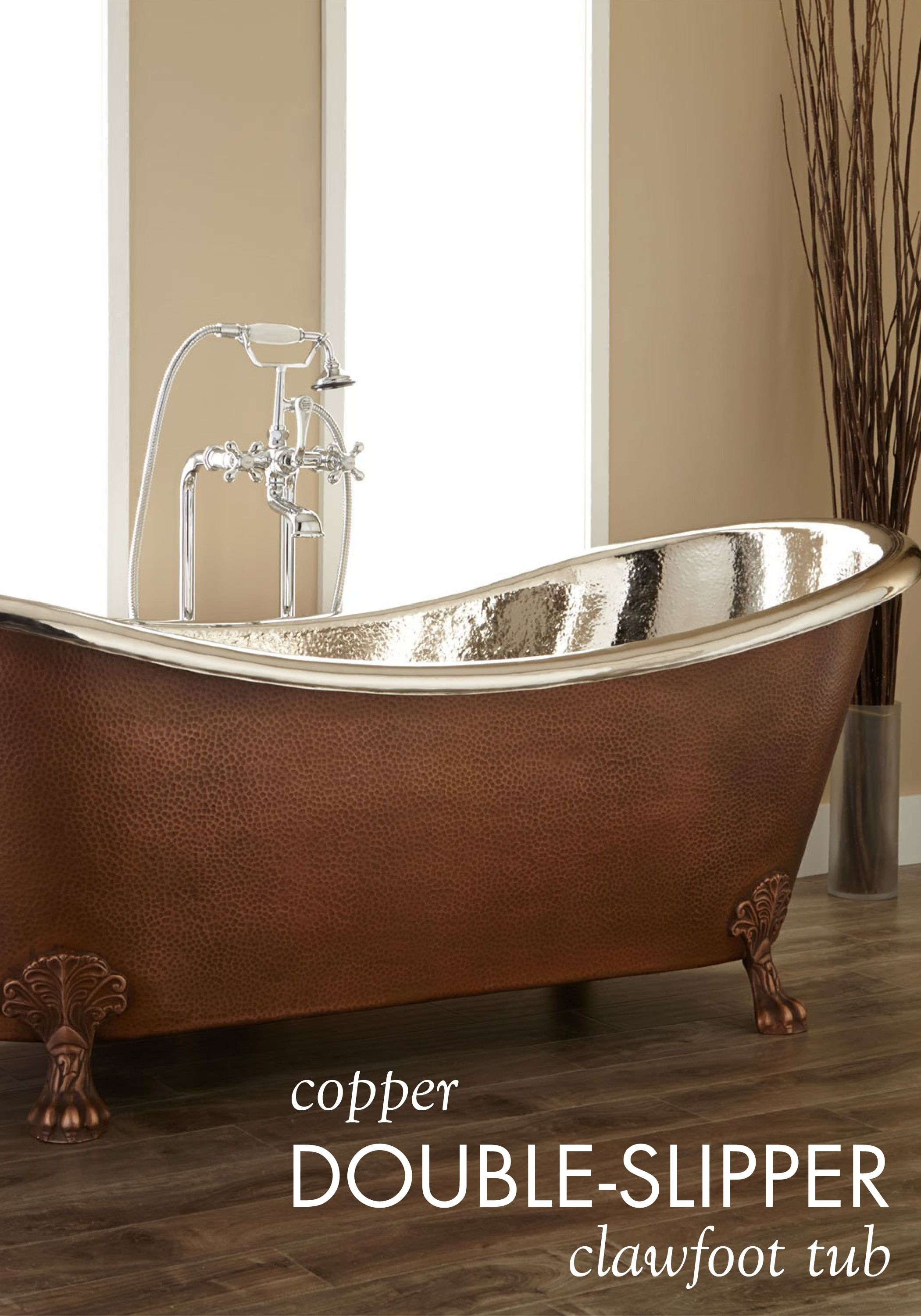Let The Hammered Copper Double Slipper Clawfoot Tub Be The Focal