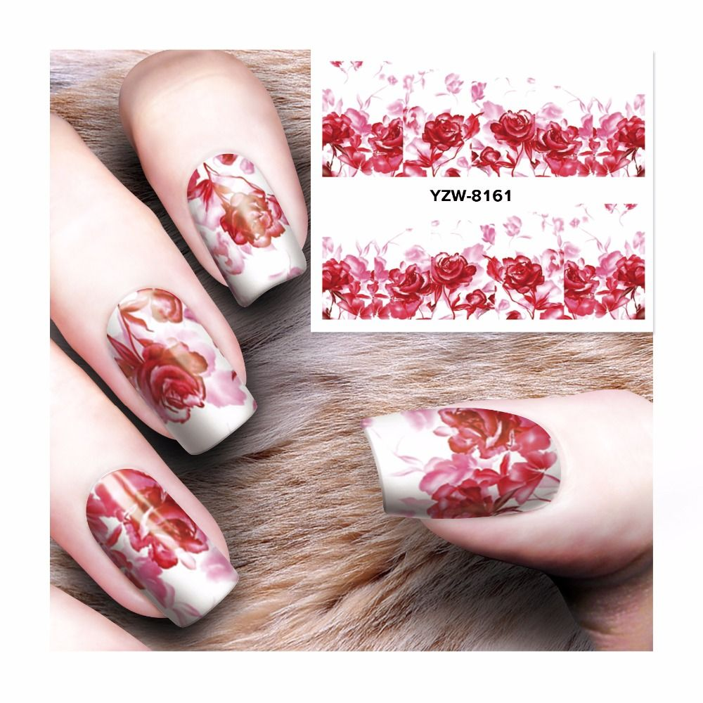 Yzwle 1 Sheet Diy Water Transfer Nails Art Sticker Colorful Purple Flowers Nail Stickers Wraps Stickers & Decals
