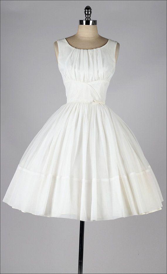R e s e r v e d /// vintage 1950s dress . cream chiffon . classic ...