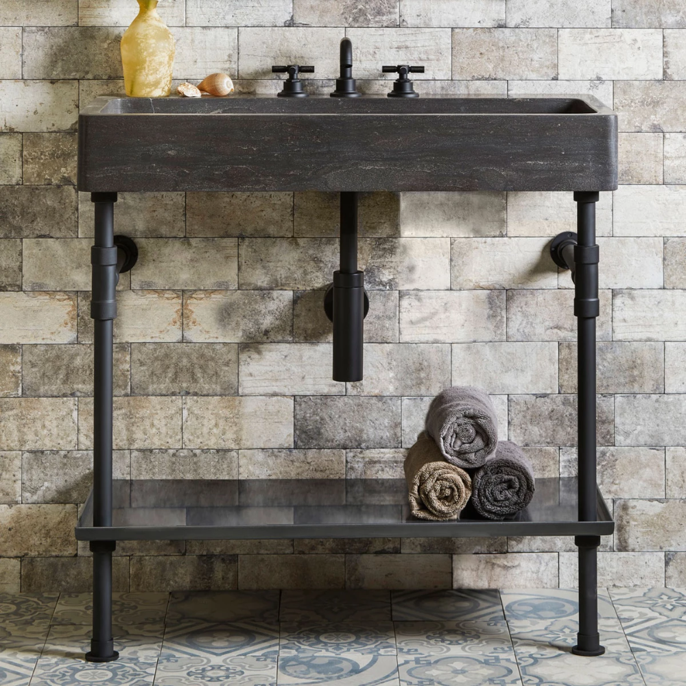 Antique Inspired 60 Industrial Trough Sink Wall Natural Copper and Brushed Brass Vessel Bath Sink