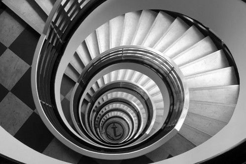 black and white study of a spiral staircase by art life images