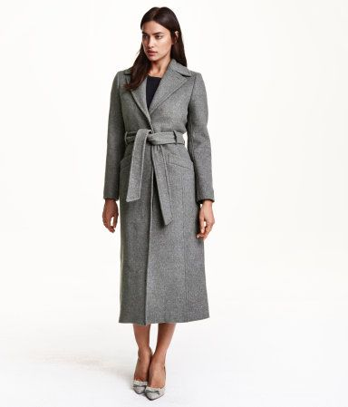 548e7ee2070 Grey wool trench coat with tie belt in dark grey melange.