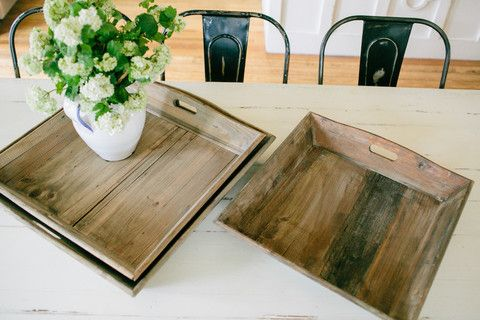 Angles - Reclaimed Wood Tray Wood Tray, Mom And Ottomans