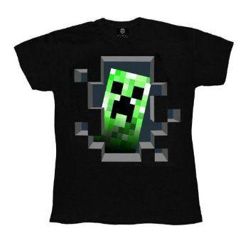 Official KIDS T Shirt MINECRAFT Black CREEPER INSIDE