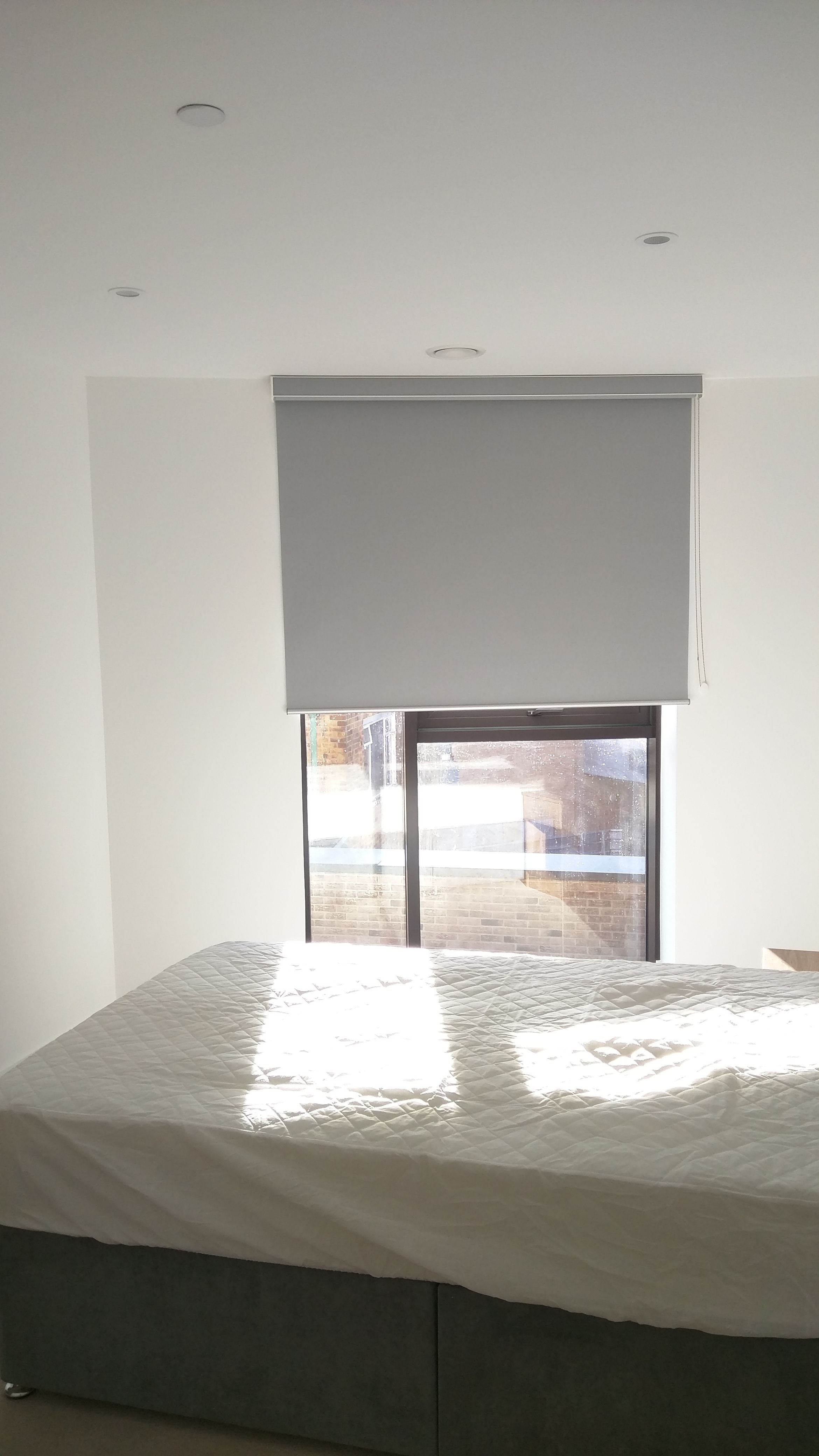Blackout Roller Blind With Matching Pelmet Fitted Outside The Recess