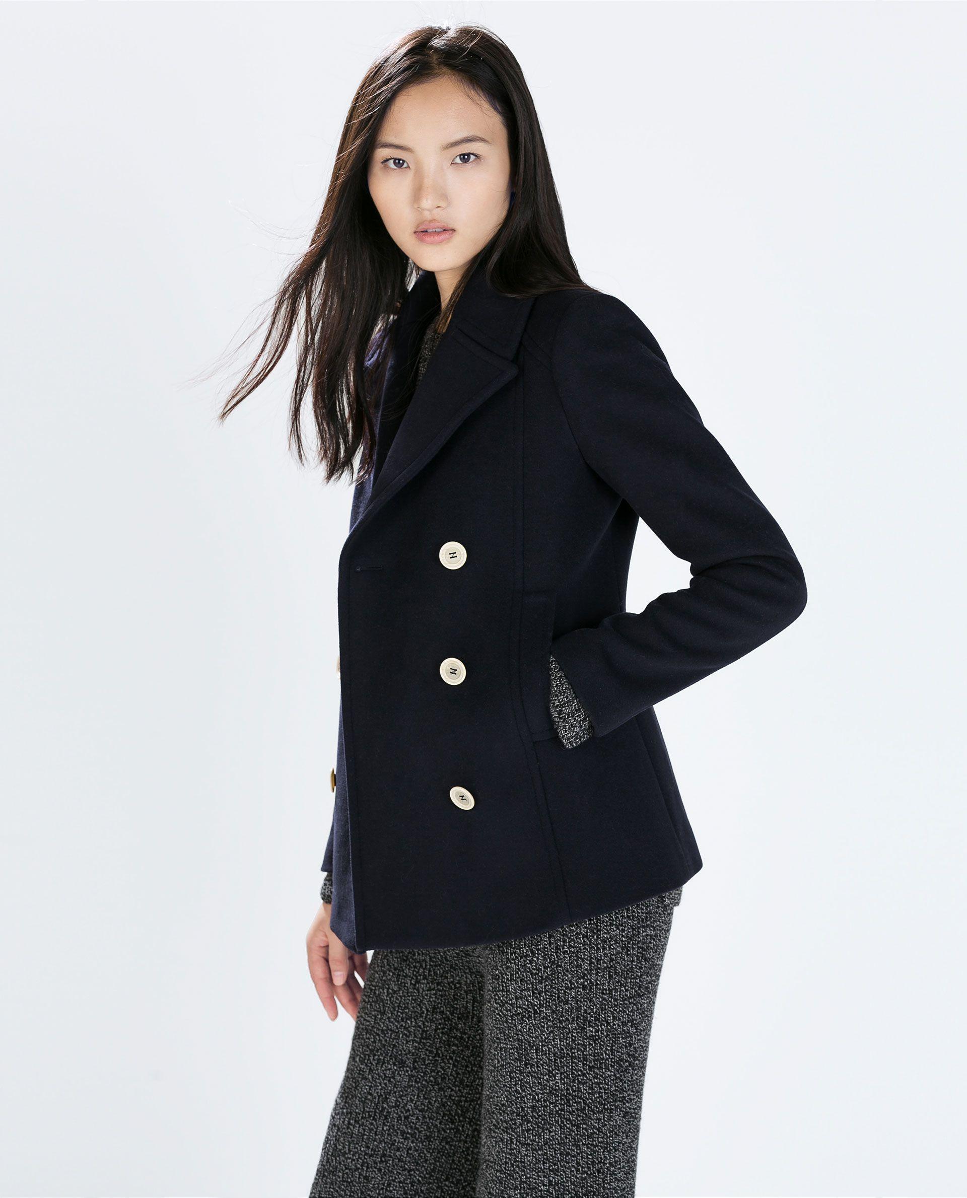 image 2 of short buttoned coat from zara looks caban. Black Bedroom Furniture Sets. Home Design Ideas