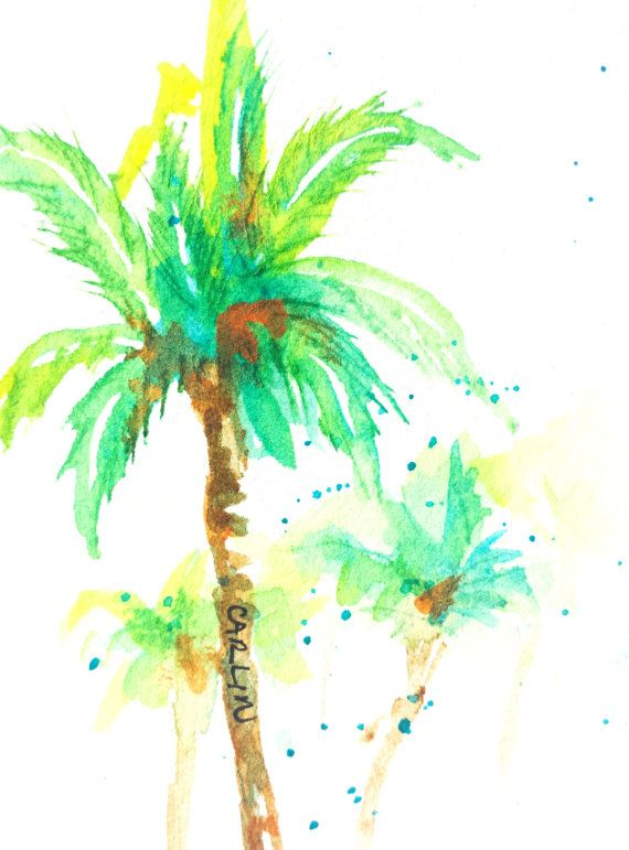 Original Watercolor Aceo Coconut Palm Tree Painted By