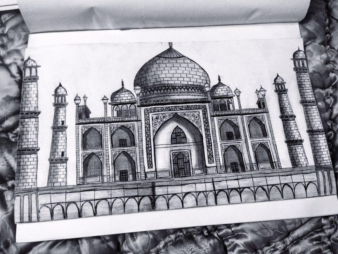 Taj mahal, drawing, monument of love, pyaar,ishq | rings | Pinterest ...