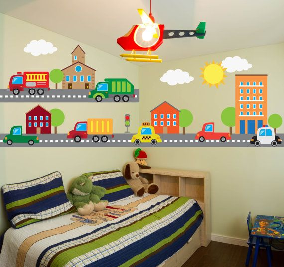 Construction Transportation Car Truck Wall Decals Kids Stickers