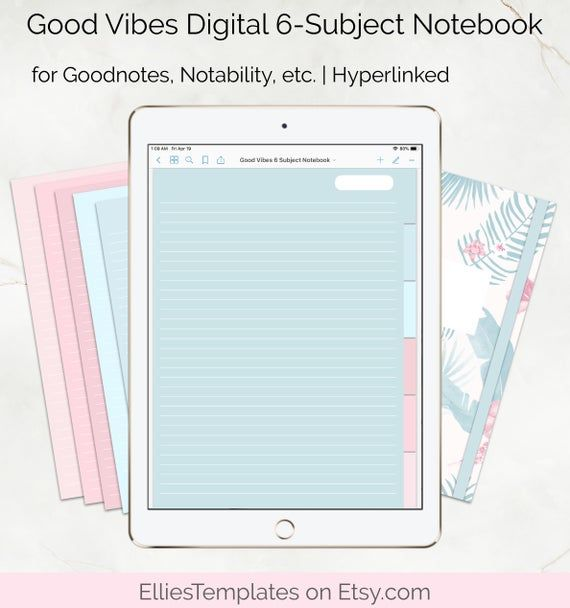 Good Vibes Digital 6 Subject Notebook  Digital Lined | Etsy