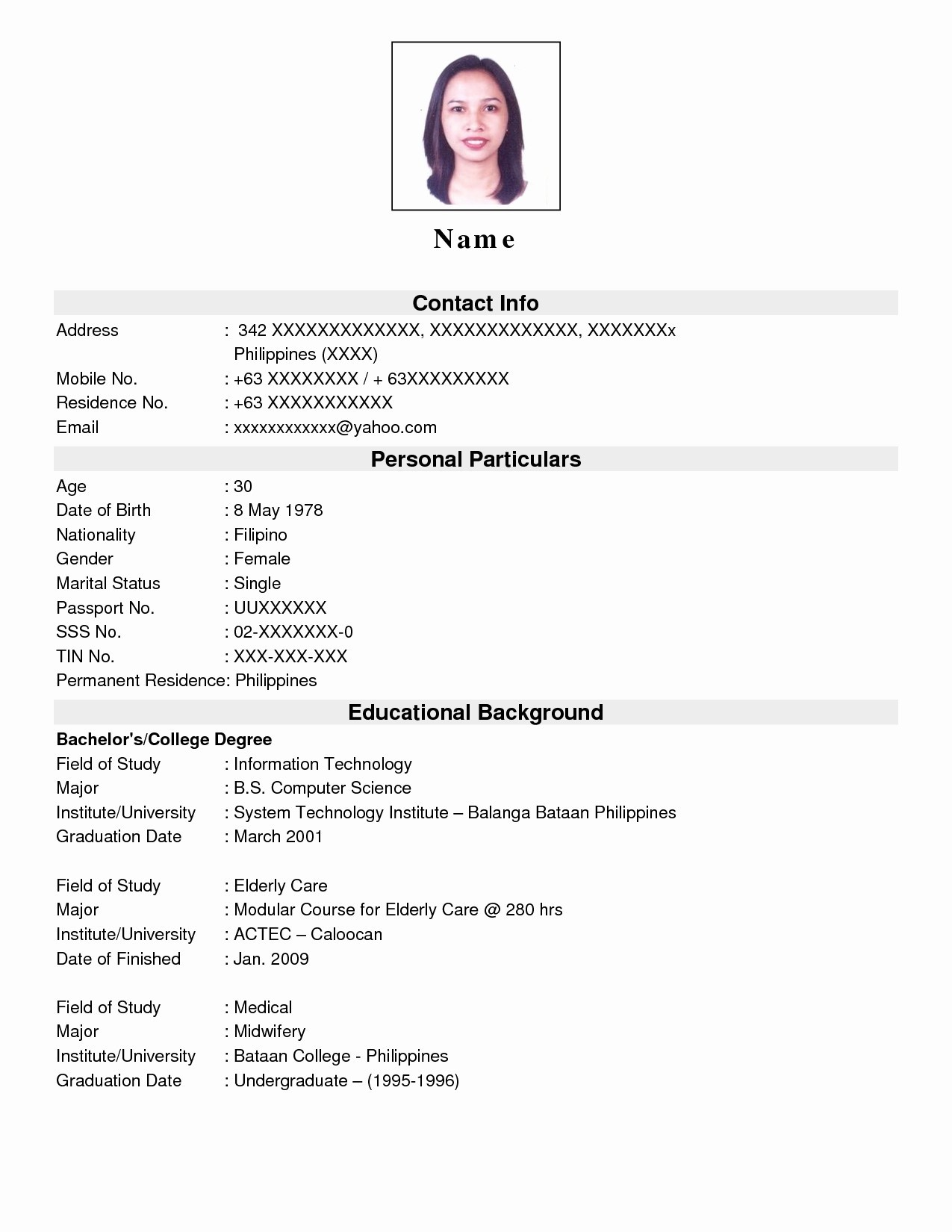 016 Undergraduate Student Cv Template Ideas Sample Resume